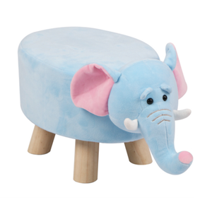 Wooden Animal Stool for Kids (Elephant) | Small Oval | With Removable Soft Fabric Cover | (Blue) - Best Price Company India