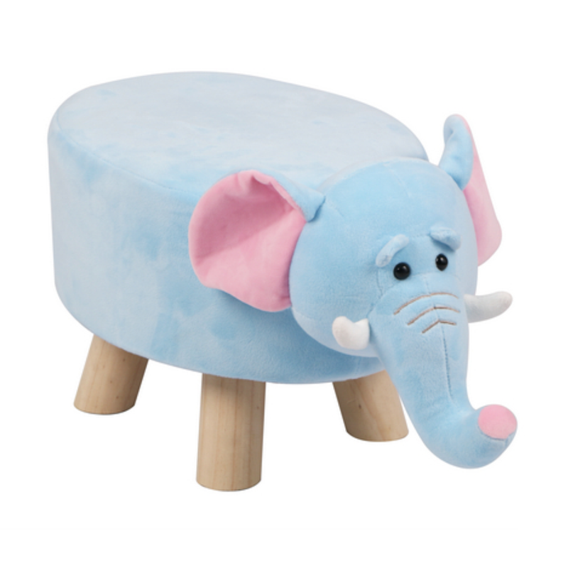 Wooden Animal Stool for Kids (Elephant) | Small Oval | With Removable Soft Fabric Cover | (Blue) - BestP : Best Product at Best Price