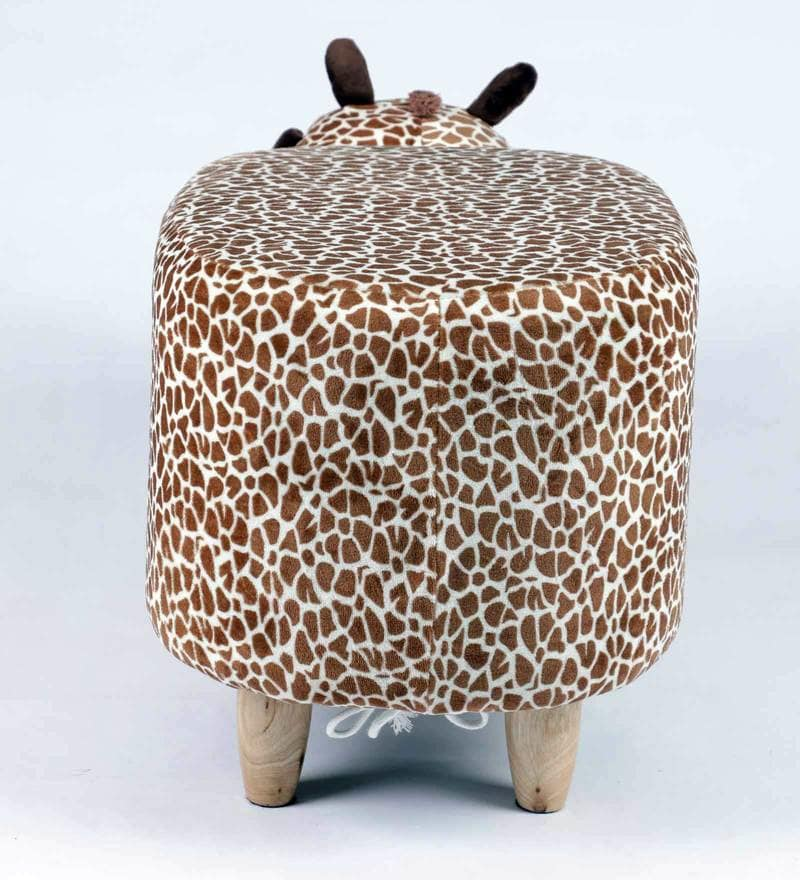 Wooden Animal Stool for Kids (Giraffe)| With Removable Soft Fabric Cover - BestP : Best Product at Best Price
