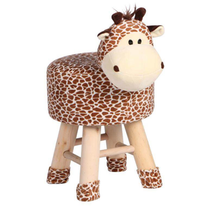 Wooden Animal Stool for Kids (Giraffe) | Round High Neck | With Removable Soft Fabric Cover | (Brown & Beige) - Best Price Company India