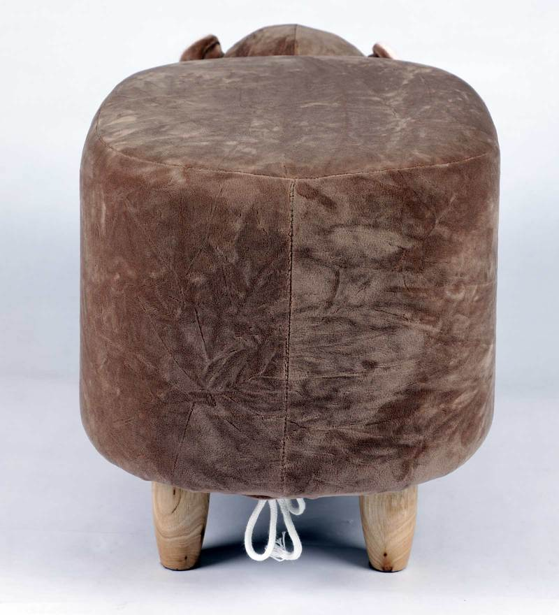 Wooden Animal Stool for Kids (Hippo)| With Removable Soft Fabric Cover | (Brown) - BestP : Best Product at Best Price