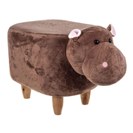 Wooden Animal Stool for Kids (Hippo)| With Removable Soft Fabric Cover | (Brown) - Best Price Company India