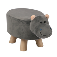 Wooden Animal Stool for Kids (Hippo) | Small Oval | With Removable Soft Fabric Cover | (Grey) - Best Price Company India