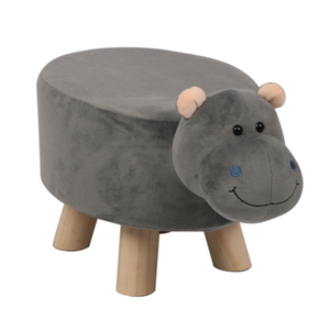 Wooden Animal Stool for Kids (Hippo) | Small Oval | With Removable Soft Fabric Cover | (Grey) - BestP : Best Product at Best Price