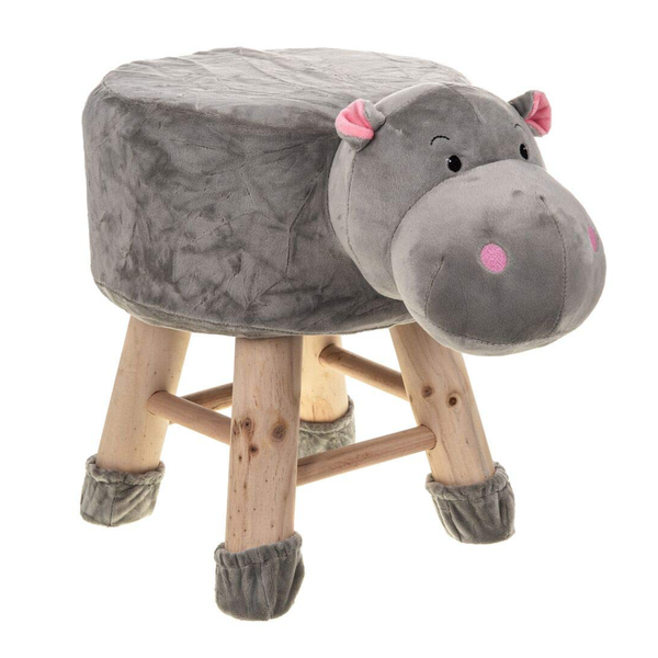 Wooden Animal Stool for Kids (Hippo)| With Removable Soft Fabric Cover | (Grey) - Best Price Company India