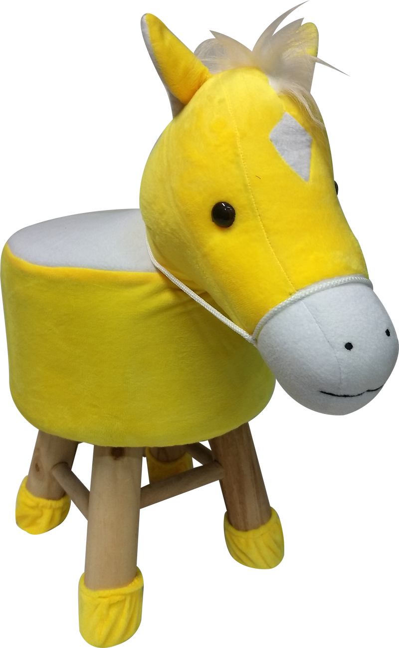 Wooden Animal Stool for Kids (Horse)| With Removable Soft Fabric Cover | (YLW) - BestP : Best Product at Best Price
