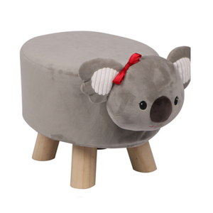 Wooden Animal Stool for Kids (Koala) | Small Oval | With Removable Soft Fabric Cover | (Grey) - Best Price Company India