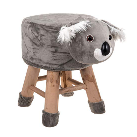 Wooden Animal Stool for Kids (Koala)| With Removable Soft Fabric Cover | (Grey) - Best Price Company India