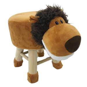 Wooden Animal Stool for Kids (Lion) | With Removable Soft Fabric Cover | (Brown) - Best Price Company India