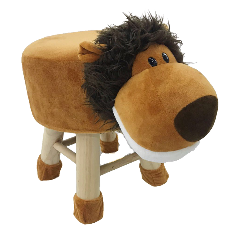 Wooden Animal Stool for Kids (Lion) | With Removable Soft Fabric Cover | (Brown) - BestP : Best Product at Best Price