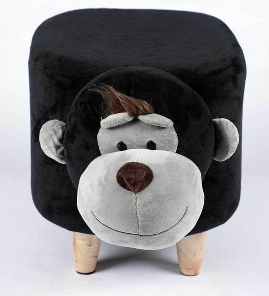 Wooden Animal Stool for Kids (Monkey)| With Removable Soft Fabric Cover | (Balck & Grey) - BestP : Best Product at Best Price
