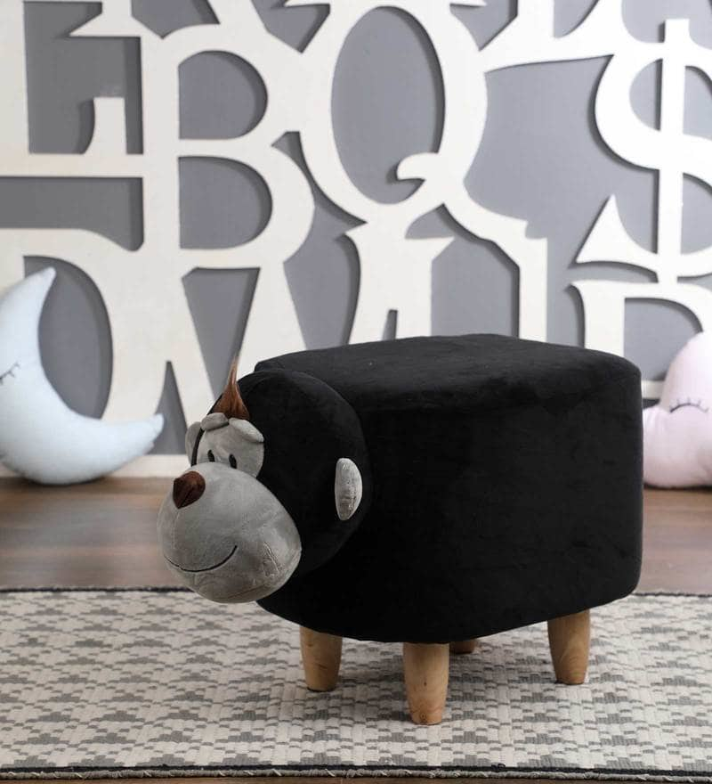 Wooden Animal Stool for Kids (Monkey)| With Removable Soft Fabric Cover | (Balck & Grey) - Best Price Company India