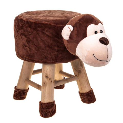 Wooden Animal Stool for Kids (Monkey)| With Removable Soft Fabric Cover | (Brown) - Best Price Company India
