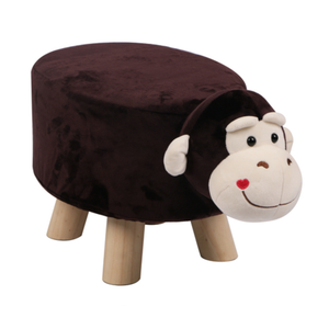 Wooden Animal Stool for Kids (Monkey) | Small Oval | With Removable Soft Fabric Cover | (Wine) - Best Price Company India