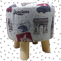 Wooden Linen OffWhite Multiprint Stool With Removable Soft Fabric Cover | Round - 4 Legs - Best Price Company India