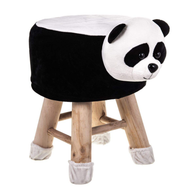 Wooden Animal Stool for Kids (Panda)| With Removable Soft Fabric Cover | (Black & White) - Best Price Company India