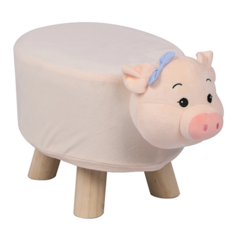 Wooden Animal Stool for Kids (Pig) | Small Oval | With Removable Soft Fabric Cover | (Light Pink) - Best Price Company India