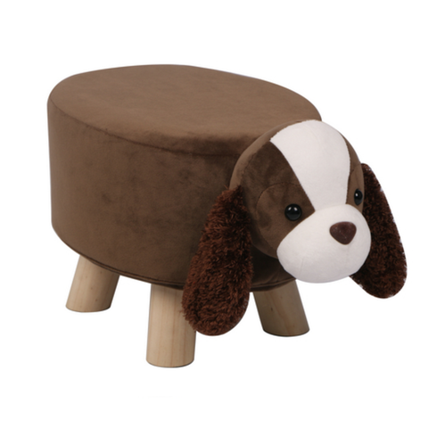 Wooden Animal Stool for Kids (Dog) | Small Oval | With Removable Soft Fabric Cover | (Brown) - Best Price Company India
