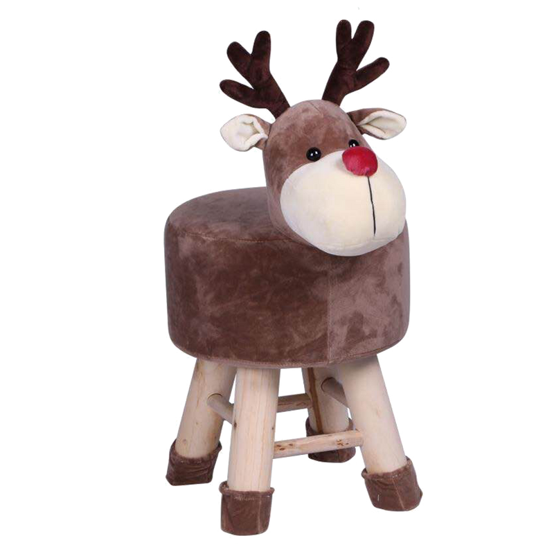Wooden Animal HN Stool for Kids (Reindeer) | Round High Neck | With Removable Soft Fabric Cover | (Brown) 42 CM