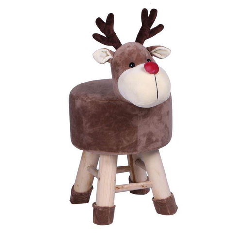 Wooden Animal Stool for Kids (Reindeer) | Round High Neck | With Removable Soft Fabric Cover | (Brown) - Best Price Company India