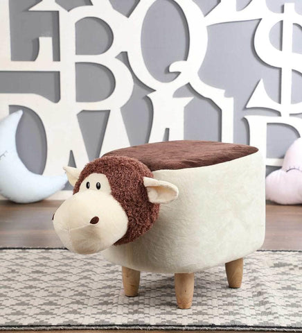Wooden Animal Stool for Kids (Sheep)| With Removable Soft Fabric Cover | (Brown & Beige) - Best Price Company India