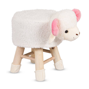 Wooden Animal Stool for Kids (Sheep)| With Removable Soft Fabric Cover | (White) - Best Price Company India