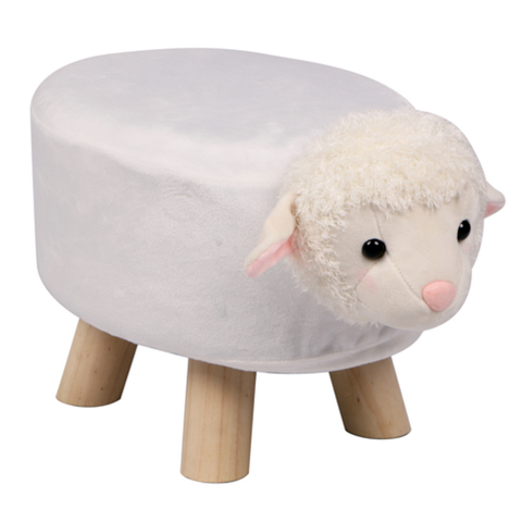 Wooden Animal Stool for Kids (Sheep) | Small Oval | With Removable Soft Fabric Cover | (White) - Best Price Company India