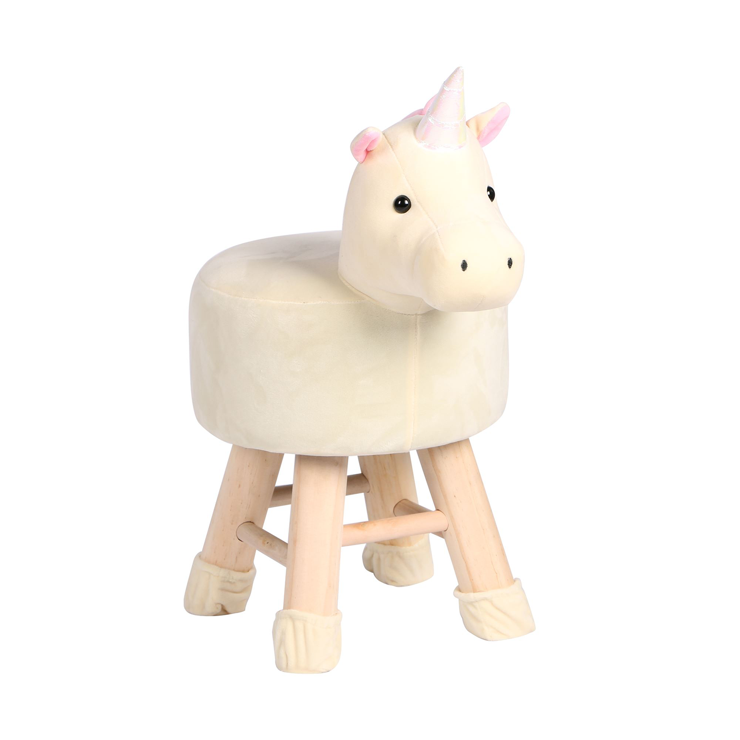 Wooden Animal Stool for Kids (Unicorn) | Round High Neck | With Removable Soft Fabric Cover | (Beige) - Best Price Company India