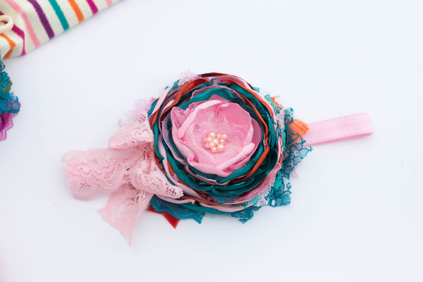 Pink/teal/rust satin flower headband