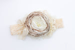 Neutral satin flower headband