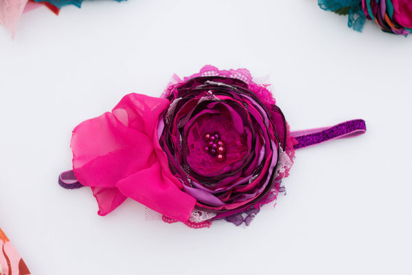 Pink/Magenta satin flower headband