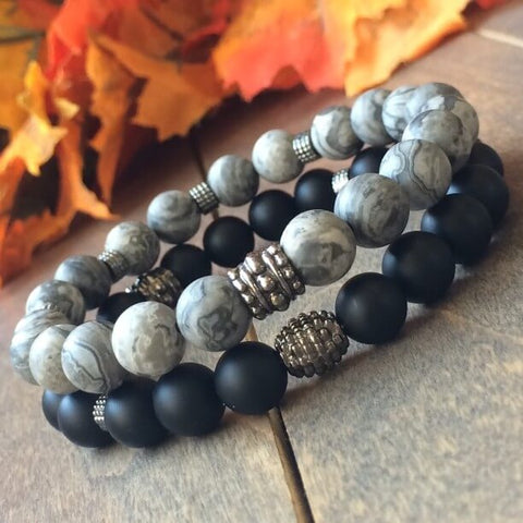 Stack Jasper and Black Onyx Bracelet - UNLOCK YOUR CHAKRA