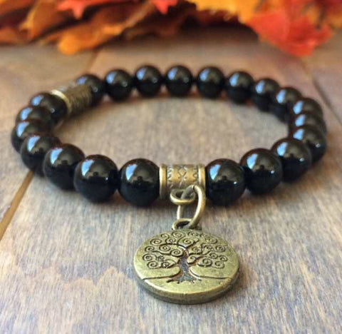 Black Tourmaline Natural Stone Bracelet - UNLOCK YOUR CHAKRA