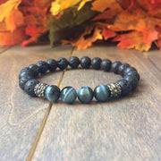 Blue Tiger's Eye & Lava Rock Bracelet - UNLOCK YOUR CHAKRA