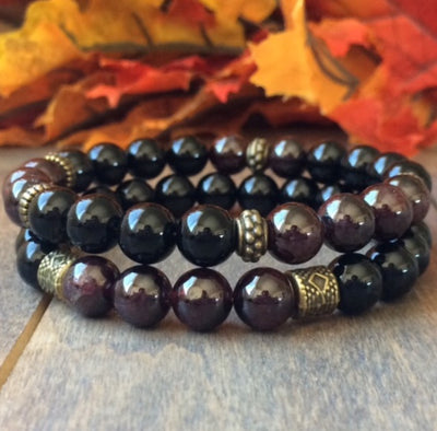 couple bracelets garnet natural stone - UNLOCK YOUR CHAKRA