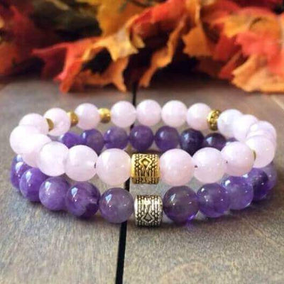 Stack Rose Quartz & Amethyst Crystal Bracelets - UNLOCK YOUR CHAKRA