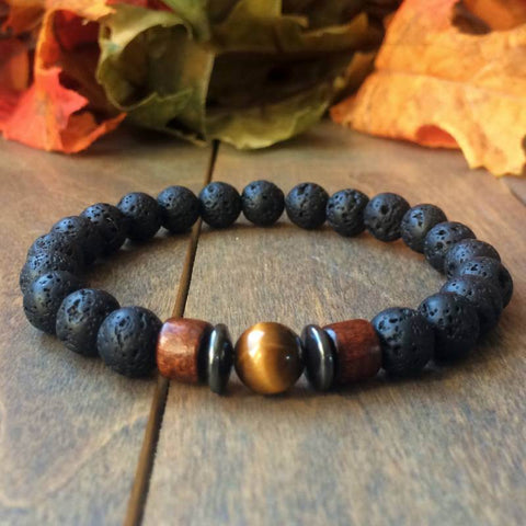 Yellow Tiger's Eye & Lava Rock Diffuser Bracelet - UNLOCK YOUR CHAKRA