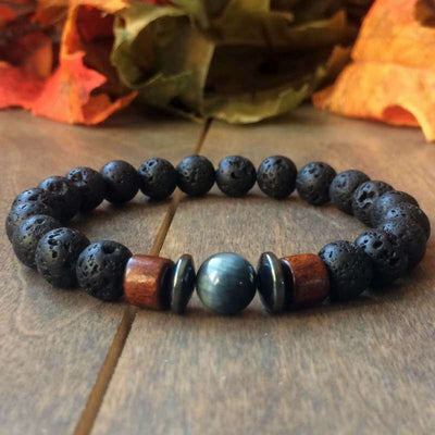 Lava Bead Bracelet | Blue Tigers Eye & Lava Stone - UNLOCK YOUR CHAKRA