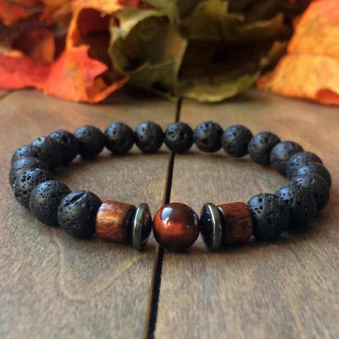 Red Tiger's Eye & Lava Rock Diffuser Bracelet - UNLOCK YOUR CHAKRA