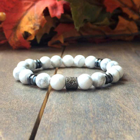 Men's Beaded Bracelets | White Howlite - UNLOCK YOUR CHAKRA