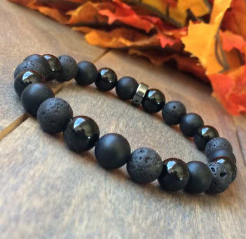 Black Onyx and Lava Beaded Bracelet - UNLOCK YOUR CHAKRA