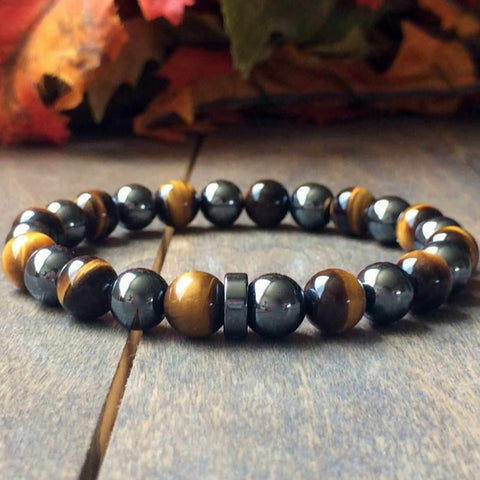 Mens Beaded Bracelets | Tiger's Eye & Hematite - UNLOCK YOUR CHAKRA