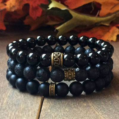 Stacked Black Onyx & Lava Bracelet - UNLOCK YOUR CHAKRA