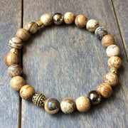 Stack Picture Jasper and Black Onyx Bracelet - UNLOCK YOUR CHAKRA