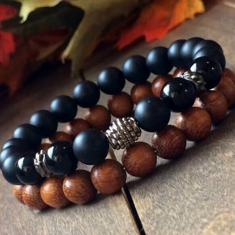 Stack Black Onyx & Wood Bracelet - UNLOCK YOUR CHAKRA