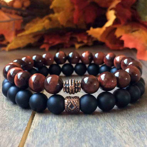 Stack Red Tigers Eye Beaded Bracelets - UNLOCK YOUR CHAKRA