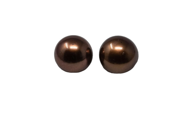 9mm Tahitian Pearl Stud Earrings, Colored Chocolate, 14K Gold