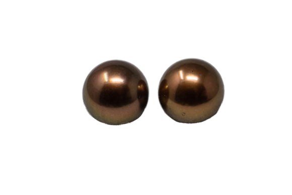 9.5mm Tahitian Pearl Stud Earrings, Colored Chocolate, 14K Gold