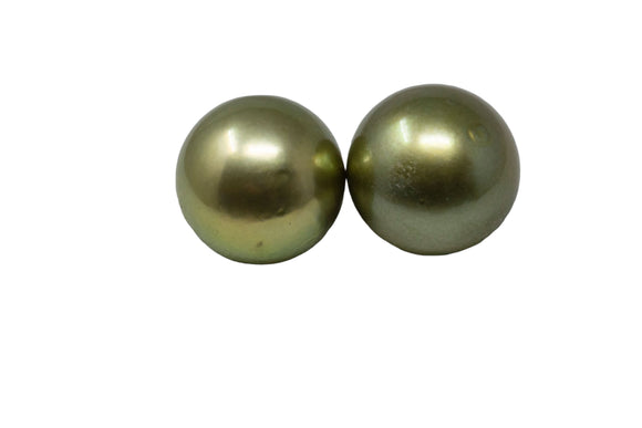 11mm Tahitian Pearl Stud Earrings, Colored Pistachio, 14k Gold