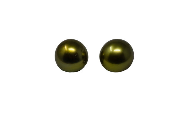 7.7mm Tahitian Pearl Stud Earrings, Colored Pistachio, 14K Gold